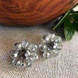 Vtg Clear & Hematite Beaded Cluster Clip Earrings